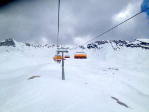 Blick aus dem Skilift auf der Zugspitze