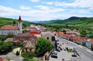 Blick aus dem Kirchturm auf Frauendorf, Axente Sever, Siebenbürgen, Rumänien