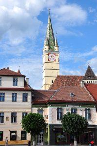 Margaretenkirche mit Trompeterturm in Mediasch, Siebenbürgen, Rumänien