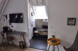 Eye Hotel Utrecht - Zimmer 207 mit Schreibtisch und Bad