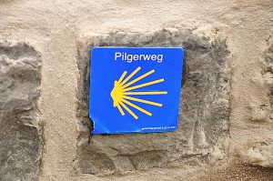 Kennzeichnung des Jakobswegs in Beyenburg