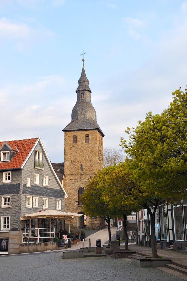 Glockenturm in der historischen Altstadt in Hattingen